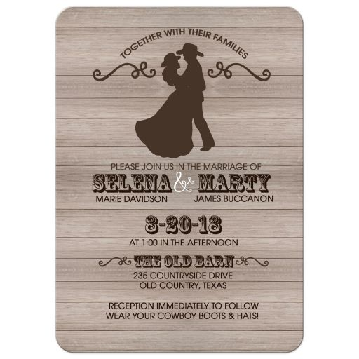 Country Western Dancing Couple Rustic Wedding Invitation