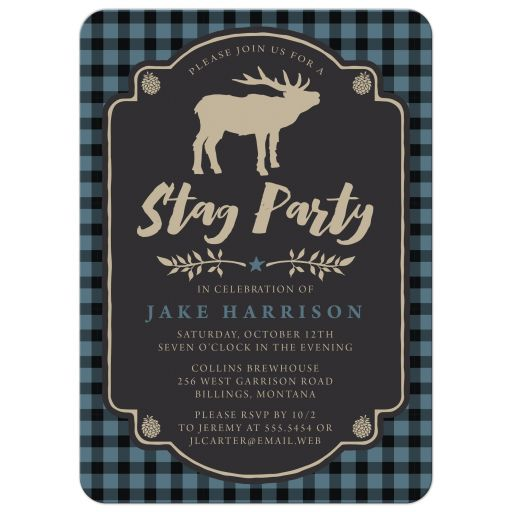 Rustic Blue & Black Plaid Stag Bachelor Party Invitations front