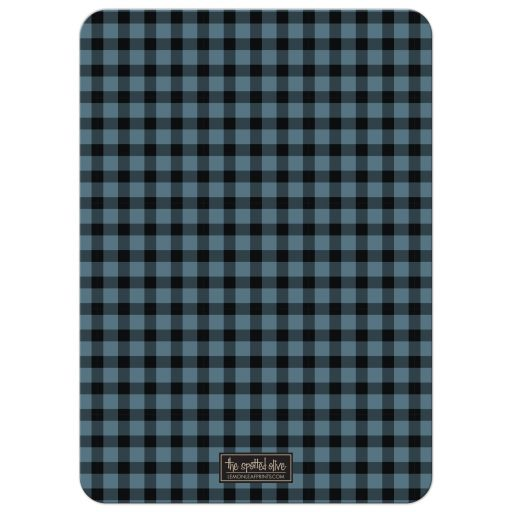 Rustic Blue & Black Plaid Stag Bachelor Party Invitations back