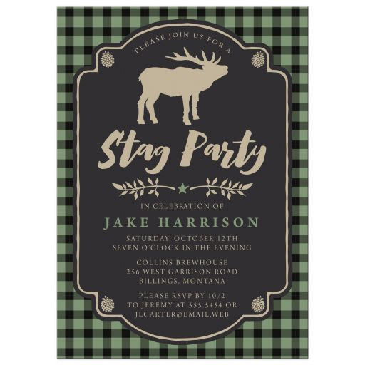 Rustic Green & Black Plaid Stag Bachelor Party Invitations front