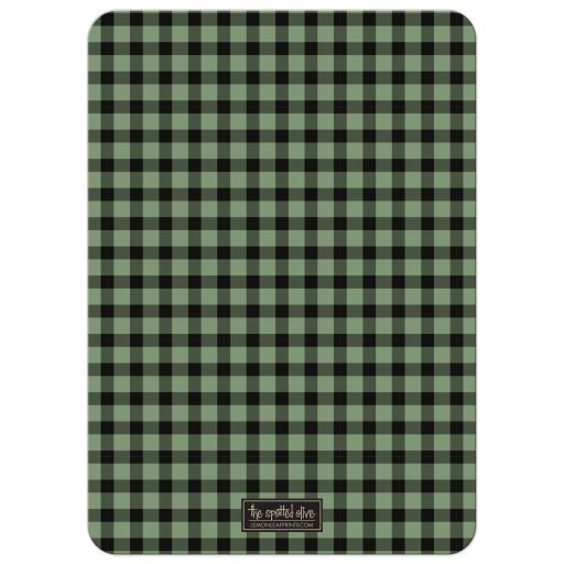 Rustic Green & Black Plaid Stag Bachelor Party Invitations black