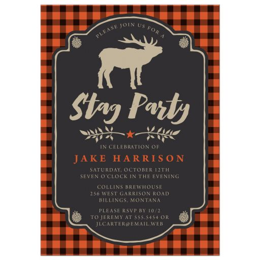 Rustic Orange & Black Plaid Stag Bachelor Party Invitations front