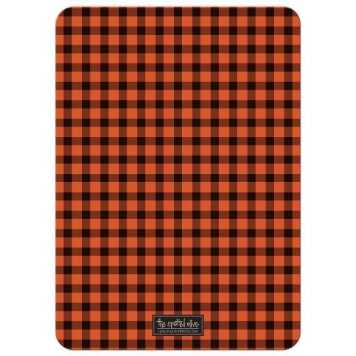 Rustic Orange & Black Plaid Stag Bachelor Party Invitations back