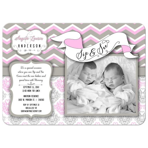 Pink Chevron Sip And See New Twin Girls Photo Template Invitation