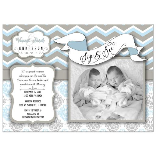Blue Chevron Sip And See New Twin Boys Photo Template Invitation
