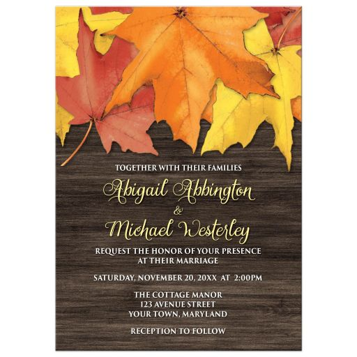 Wedding Invitations - Rustic Autumn Leaves and Wood