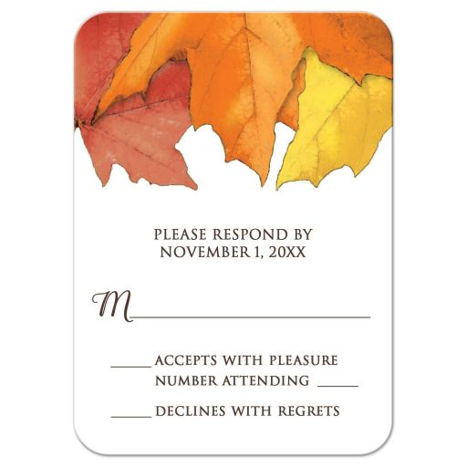 RSVP Reply Cards - Rustic Autumn Leaves and Brown