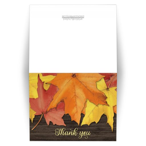 Thank You Cards - Rustic Autumn Leaves and Wood