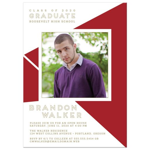 Geometric Graduation Photo Invitation front