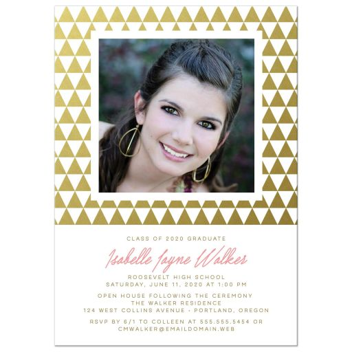 Gold Geometric Triangles Graduation Invitations front