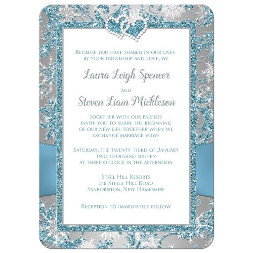 Affordable blue and white snowflakes wedding invites with ribbon and jewelled joined hearts