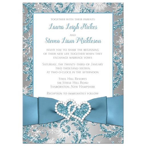 Superior Winter Wonderland Wedding Invite In Ice Blue, Silver And White Snowflakes  With Joined Jewelled Hearts ...