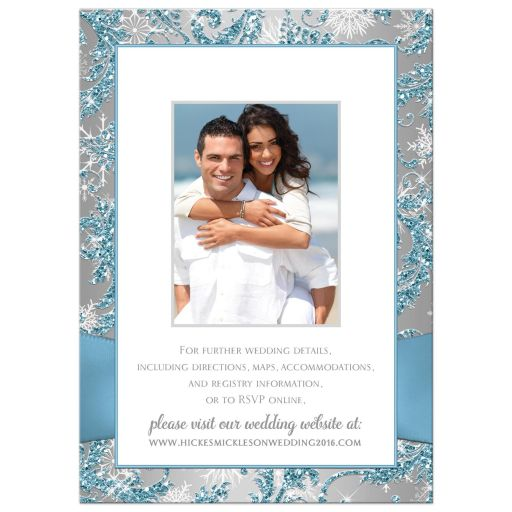 Affordable blue, silver grey and white snowflakes floral damask wedding invite with joined hearts and ribbon
