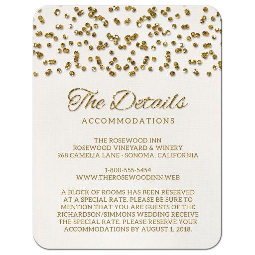 Glamorous Glitter Confetti Wedding Enclosure Cards front
