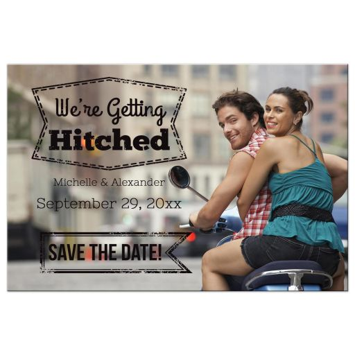 Getting Hitched Custom Save The Date Photo Post Card