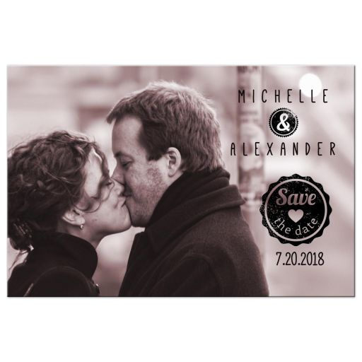 Contemporary Custom Save The Date Photo Post Card