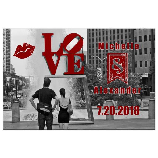 Whimsical Kissing Lips Custom Photo Save The Date Post Card