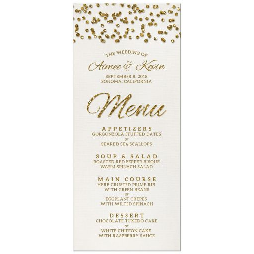 Glamorous Glitter Confetti Wedding Menu Cards front