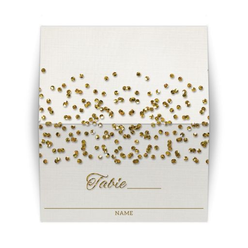 Glamorous Glitter Confetti Wedding Place Cards
