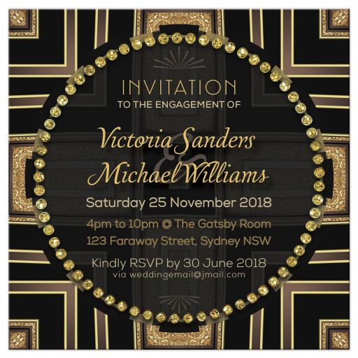 Art Deco Gold Circle Gems Wedding