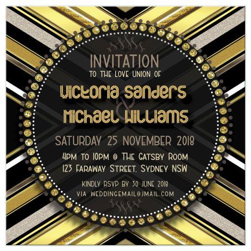 Art Deco Gold Bold Style Wedding Invitation