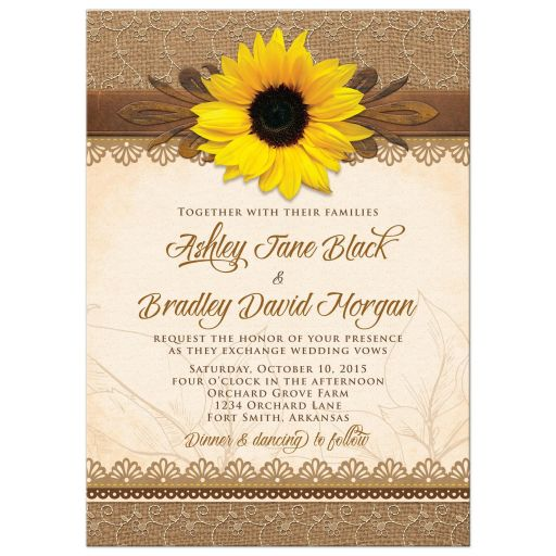 Rustic lace, burlap, wood and yellow sunflower country wedding invitation front