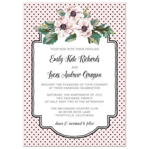 Retro Polka Dots & Flowers Wedding Invitations front