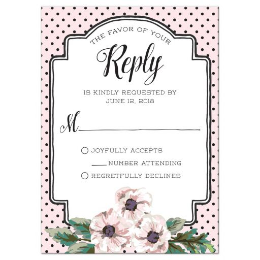 Retro Polka Dots & Flowers Wedding RSVP Cards front