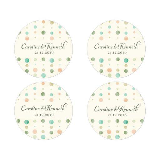 Round Favor Stickers - Soft Polka Dot Columns