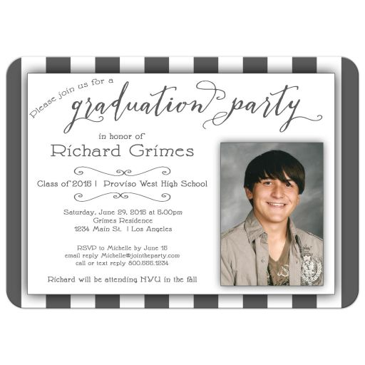 Silver Stripes And Trendy Typography Photo Graduation Party Invitation