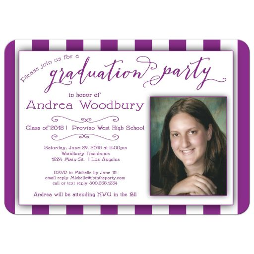 ​Hot Pink Stripes And Trendy Typography Photo Graduation Party Invitation