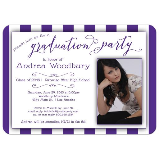 Purple Stripes And Trendy Typography Photo Graduation Party Invitation