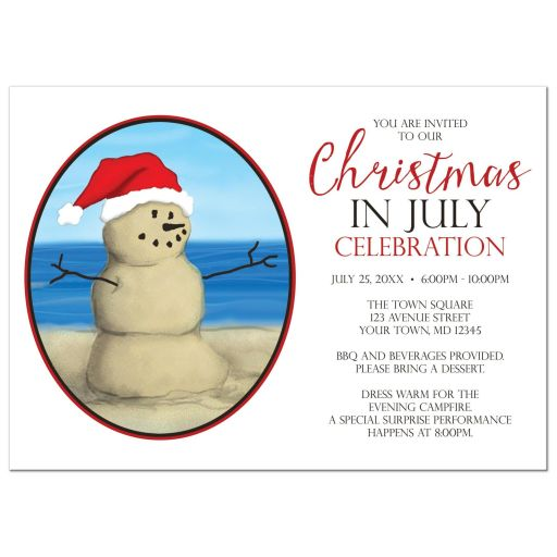 Christmas in July Party Invitations - Sand Snowman