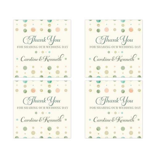 Square Favor Stickers - Soft Polka Dot Columns