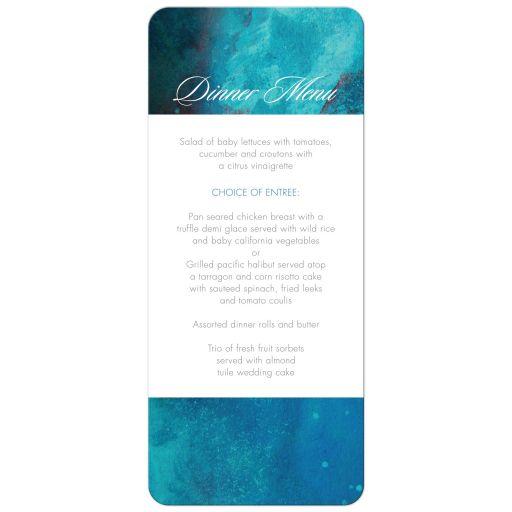 Wedding Menu Card - Teal Watercolor Wash