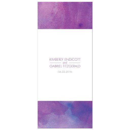 Wedding Menu Card - Purple Watercolor Wash