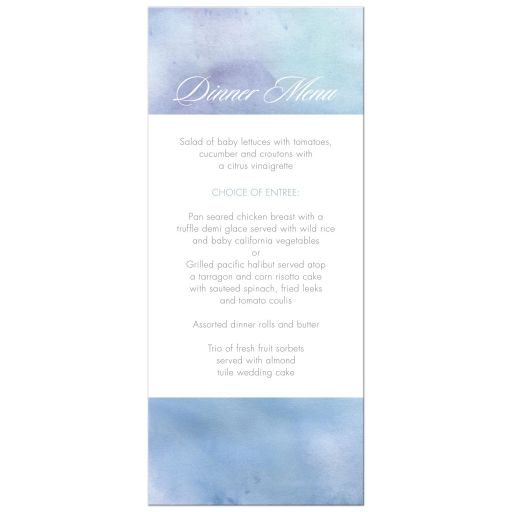 Wedding Menu Card - Light Blue Watercolor Wash