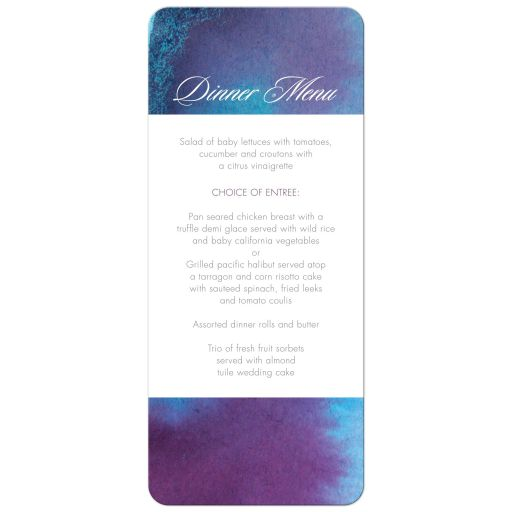 Wedding Menu Card - Blue Purple Watercolor Wash