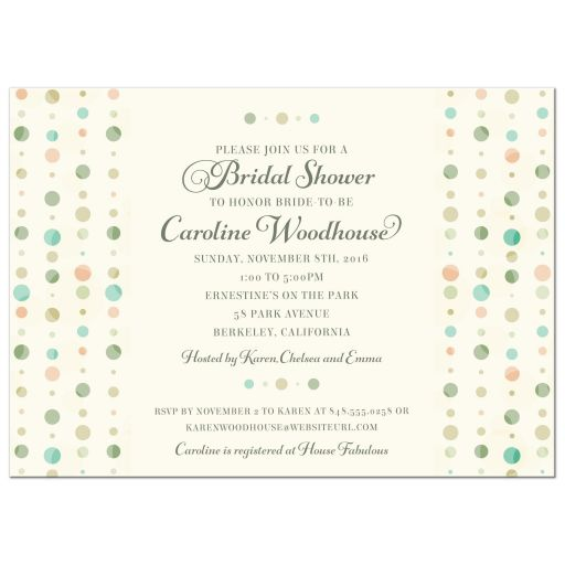 Bridal Wedding Shower Invitation - Soft Polka Dot Columns