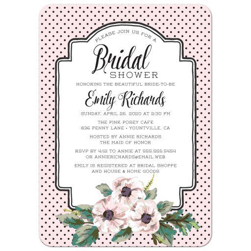 Retro Polka Dots & Flowers Bridal Shower Invitations front