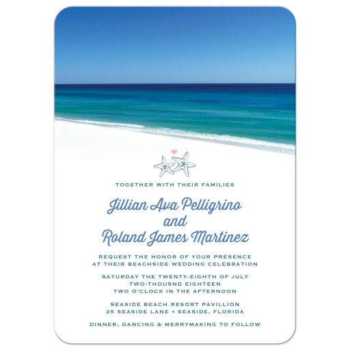 Beach Scene Destination Wedding Invitations front