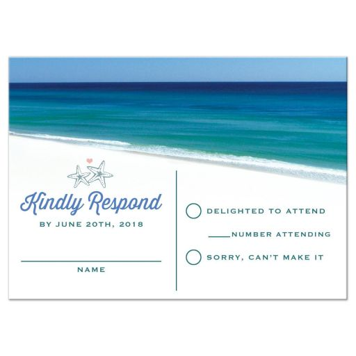 Beach Scene Destination Wedding RSVP Cards front