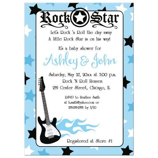 Rock Star Boy Baby Shower Invitation Blue 5x7
