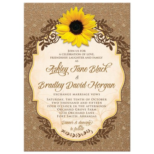 Rustic Sunflower Burlap And Lace Wedding Invitation Set Wedding - Sunflower wedding invitations templates