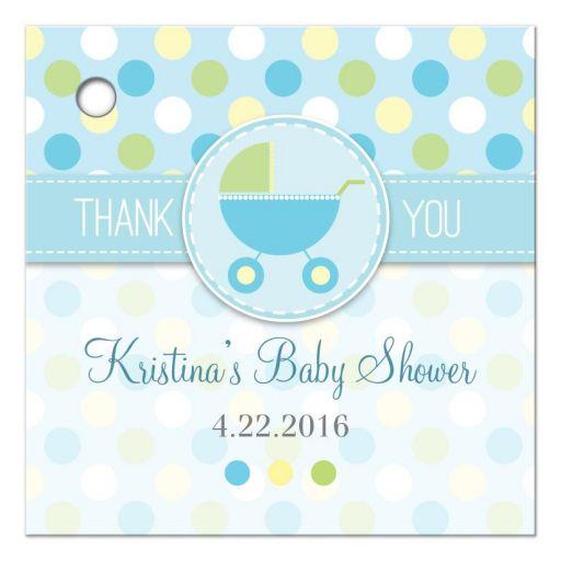 Baby Shower Favor Tag - Blue and Green Polka Dot Pram Stroller