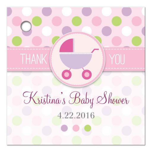 Baby Shower Favor Tag - Pink and Purple Polka Dot Pram Stroller
