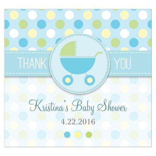 Baby Shower Beverage Label  - Blue and Green Polka Dot Pram Stroller
