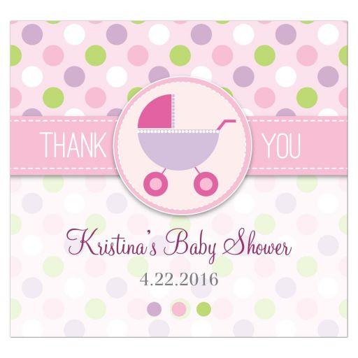 Baby Shower Beverage Label  - Purple and Pink Polka Dot Pram Stroller