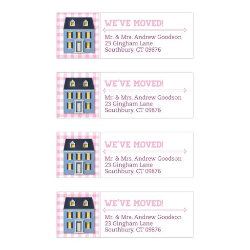 Moving Address Labels - Pink Gingham Dollhouse