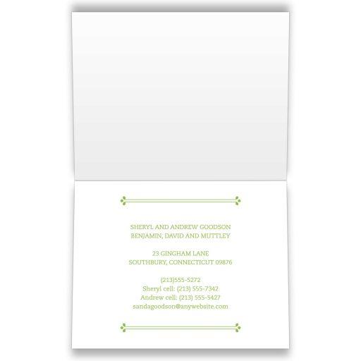 Housewarming Moving Card - Green Gingham Dollhouse